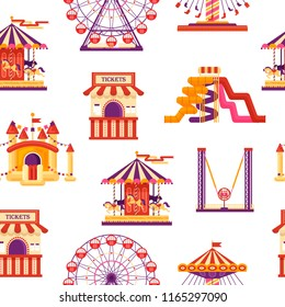 Seamless pattern amusement park with carousels, waterslides, balloons, inflatable trampoline castle, ferris wheel, mobile kiosk with sweets, catapult isolated on white background, family attractions.