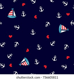 Seamless pattern with anchors and sailboat. Cute Marine pattern for fabric, baby clothes, background, textile, wrapping paper and other decoration.Vector illustration.