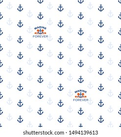 Seamless pattern with anchors and sea emblem with funny crabs. Red crab sailor and anchors. Cute textile design on a light background.