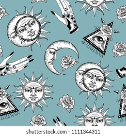Seamless pattern with ancient astronomical illustration of the sun, the moon, the stars, the rose, the eye in the graphic style of the antique.