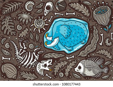Seamless pattern with ancient fossils, bones, leaves and skeletons set in cartoon style. Vector illustration