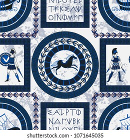 Seamless pattern with ancient greek letters, horses, fighting people and ornament. Traditional ethnic background. Vintage vector illustration(no translation,random letters of the alphabet)