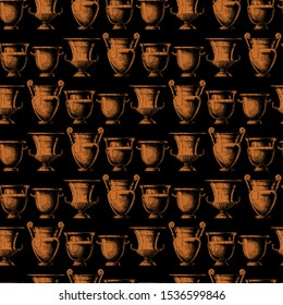 Seamless pattern with ancient greek vases. Vector illustration in vintage engraved style. Forms of craters: column krater, volute krater, calyx krater and bell krater. Typology of Greek wine vessel sh