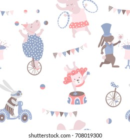 Seamless pattern with animal artists. Circus vector childish background.