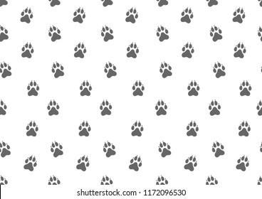 Seamless pattern. Animal dog tracks. Vector illustration.
