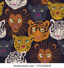 Seamless pattern with animal faces - tiger, leopard, lion. Vector illustration