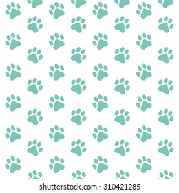 Seamless pattern of Animal Paw Print mint color on white background. Vector illustration