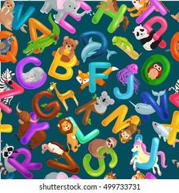 seamless pattern animals alphabet for kids abc education in preschool.