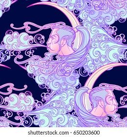 Seamless Pattern. Antique style cartography wind icon. Male head resting on a curly ornate cloud and blowing wind . Decorative element for tattoo textile prints. EPS10 vector illustration