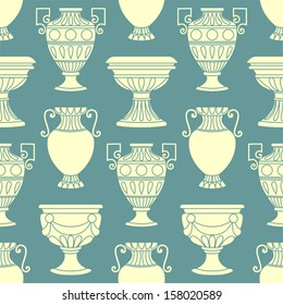 Seamless pattern with antique vases