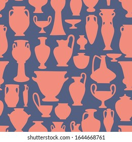 Seamless pattern with antique vases shapes and silhouettes. Vintage crockery background. Greek and roman amphoras and vessels