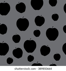 Seamless Pattern with Apples in Black on the Grey Background.