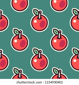 Seamless pattern of apples, cartoon, fancy, sticker style, stylized red apples. On green background.