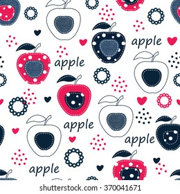 Seamless pattern with apples, flowers and abstract elements