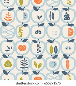 seamless pattern with apples and leaves