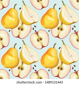 Seamless pattern with apples and pears on a gentle blue background. Half ripe apple and pear. Wallpaper, print, packaging, paper, modern textile design. Vector illustration.