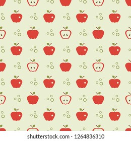 Seamless pattern with apples. Vector illustration with apple and leaf. Fruit background. Design for poster, textile, greeting card.