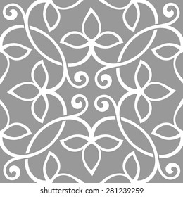 Seamless pattern in arabic style. Intersecting curved elegant lines and scrolls forming abstract floral ornament. Arabesque. Abstract floral ornament on gray background.