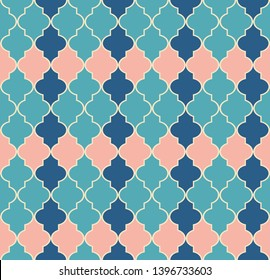Seamless pattern in Arabic style from the Windows.Blue and pink elements on a light background.Print decor Element.Vector design
