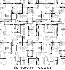 Seamless pattern of architectural plans of a house. Layout of the house with furniture in pattern bacground. Vector illustration