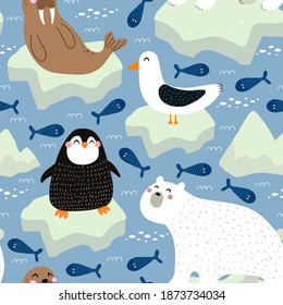 Seamless pattern with Arctic and Antarctic animals, decor elements. Colorful vector flat for kids. hand drawing. baby design for fabric, print, wrapper, textile