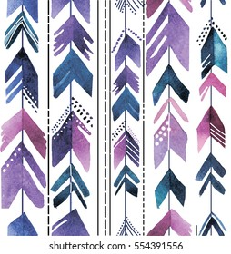 Seamless pattern with arrows. Stylish background in bohemian style. The texture of the paint. Multi-colored pens.