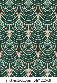 Seamless pattern in art deco style in green color