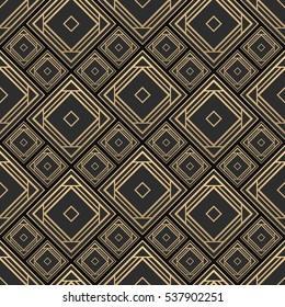 Seamless pattern in Art Deco style. Black and golden tilework. 3d effect ceramic tiles. Luxury background