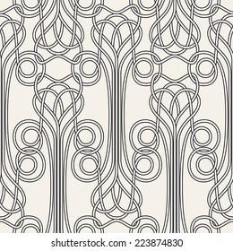 Seamless pattern Art Nouveau. Jugendstil. Modern background with plexus of linear elements. Vector illustration.