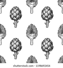 Seamless pattern with artichoke. Hand drawn vector illustration. Retro style.