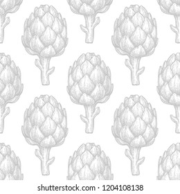 Seamless pattern with artichoke. Hand drawn vector illustration. Retro style.