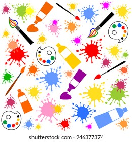 Seamless pattern with artistic objects on white background. Vector Illustration