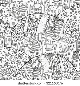 Seamless pattern with artistically houses. Magic City, fields, landscape. Pattern for coloring book. Made by trace from sketch. Ink pen. Zentangle. Black and white pattern in vector.