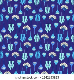 Seamless pattern with ashberry leaves, viburnum berries and lotus pods on dark background. Blue and beige colors. Repeat botanical pattern. Vector illustration.