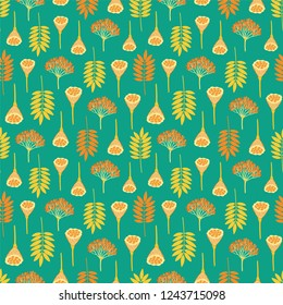 Seamless pattern with ashberry leaves, viburnum berries and lotus pods on dark background. Green, yellow, orange colors. Repeat botanical pattern. Vector illustration.