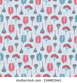 Seamless pattern with ashberry leaves, viburnum berries and lotus pods on light grey background. Blue, aqua, red, gray colors. Repeat botanical pattern. Vector illustration.