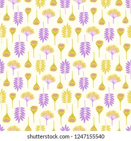 Seamless pattern with ashberry leaves, viburnum berries and lotus pods on yellowish background. Yellow and purple colors. Repeat botanical pattern. Vector illustration.