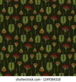 Seamless pattern with ashberry leaves, viburnum berries and lotus pods on dark background. Red and swamp green colors. Repeat botanical pattern. Vector illustration.