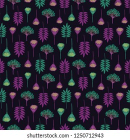 Seamless pattern with ashberry leaves, viburnum berries and lotus pods on dark background. Purple and aqua colors. Repeat botanical pattern. Vector illustration.