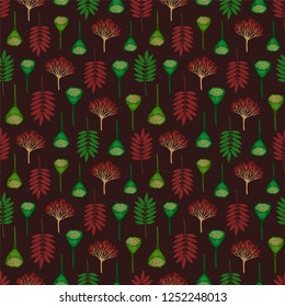 Seamless pattern with ashberry leaves, viburnum berries and lotus pods on dark background. Burgundy and emerald green colors. Repeat botanical pattern. Vector illustration.