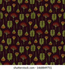 Seamless pattern with ashberry leaves, viburnum berries and lotus pods. Repeat botanical pattern. Vector illustration.