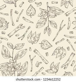 Seamless pattern with ashwagandha: branch, root and berries of withania somnifera . Cosmetic and medical plant. Vector hand drawn illustration.