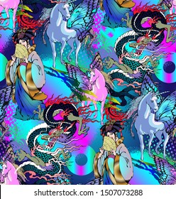 Seamless pattern with Asian motifs - dragons, fairies, peacocks, Chinese lanterns. Suitable for fabric, wrapping paper and the like