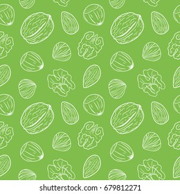 Seamless pattern with assorted nuts: walnuts, almonds, hazelnuts. Whole and shelled nuts mix. Vector hand drawn seamless pattern. Nuts background.
