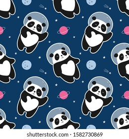 Seamless pattern astronaut panda flies in space. Cute vector illustration for the children. Print for wrapping, fabric, textile, wallpaper.