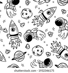 Seamless pattern with astronaut, rocket and planets in doodle style. Hand drawn space pattern.