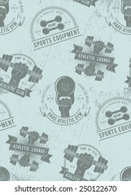 Seamless pattern of athletic sports logos. Grunge background for fitness club, gym.