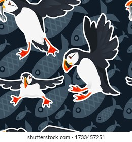 Seamless pattern atlantic puffin bird cartoon animal design flat vector illustration on blue background with fish