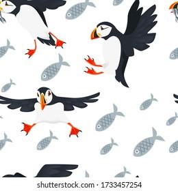 Seamless pattern atlantic puffin bird cartoon animal design flat vector illustration on white background with fish