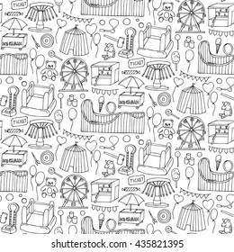Seamless pattern with attraction. Hand drawn doodle elements and objects